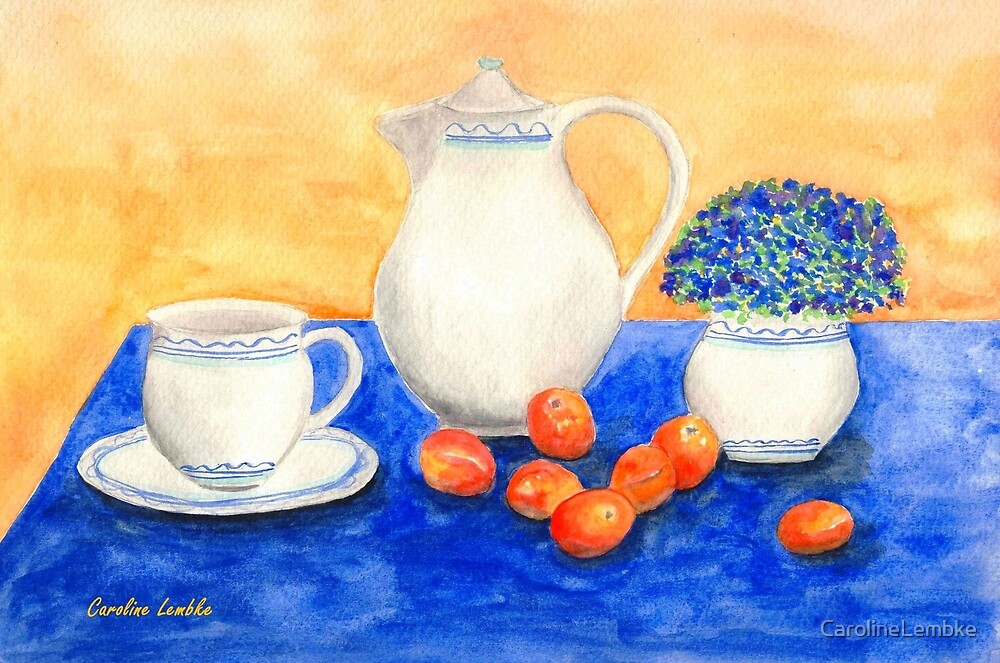 Still Life with Coffee Set and Nectarines by CarolineLembke
