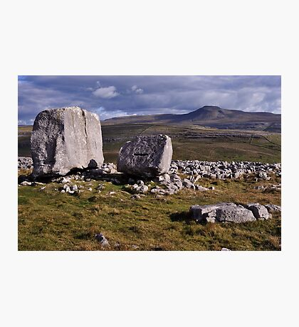 Ingleborough and limestone boulders Photographic Print