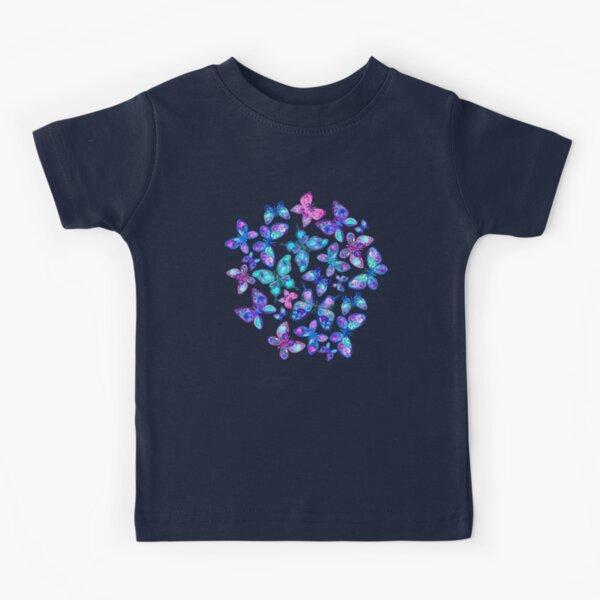 Watercolor Fruit Patterned Butterflies - aqua and sapphire Kids T-Shirt