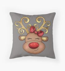 Girl Reindeer with a Red Bow Floor Pillow
