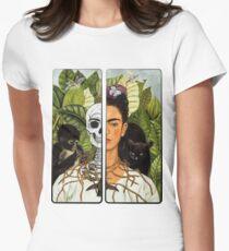 Frida Kahlo - Self Portrait (1940) Skeleton Version Women's Fitted T-Shirt