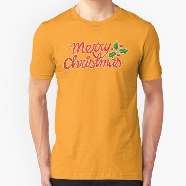 Merry Christmas, best wishes, season's greetings! Slim Fit T-Shirt