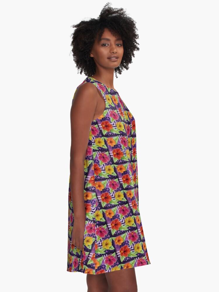 Alternate view of Hibiscus in Denim A-Line Dress