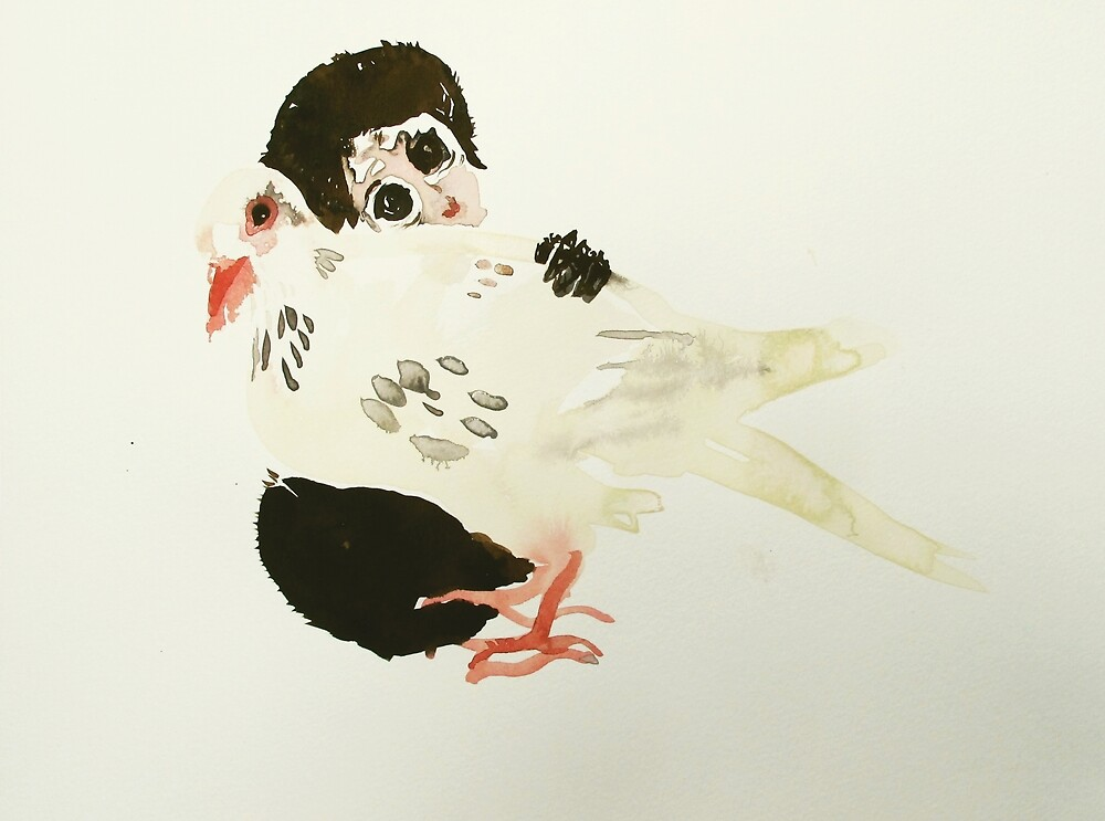 monkey baby with dove by donna malone