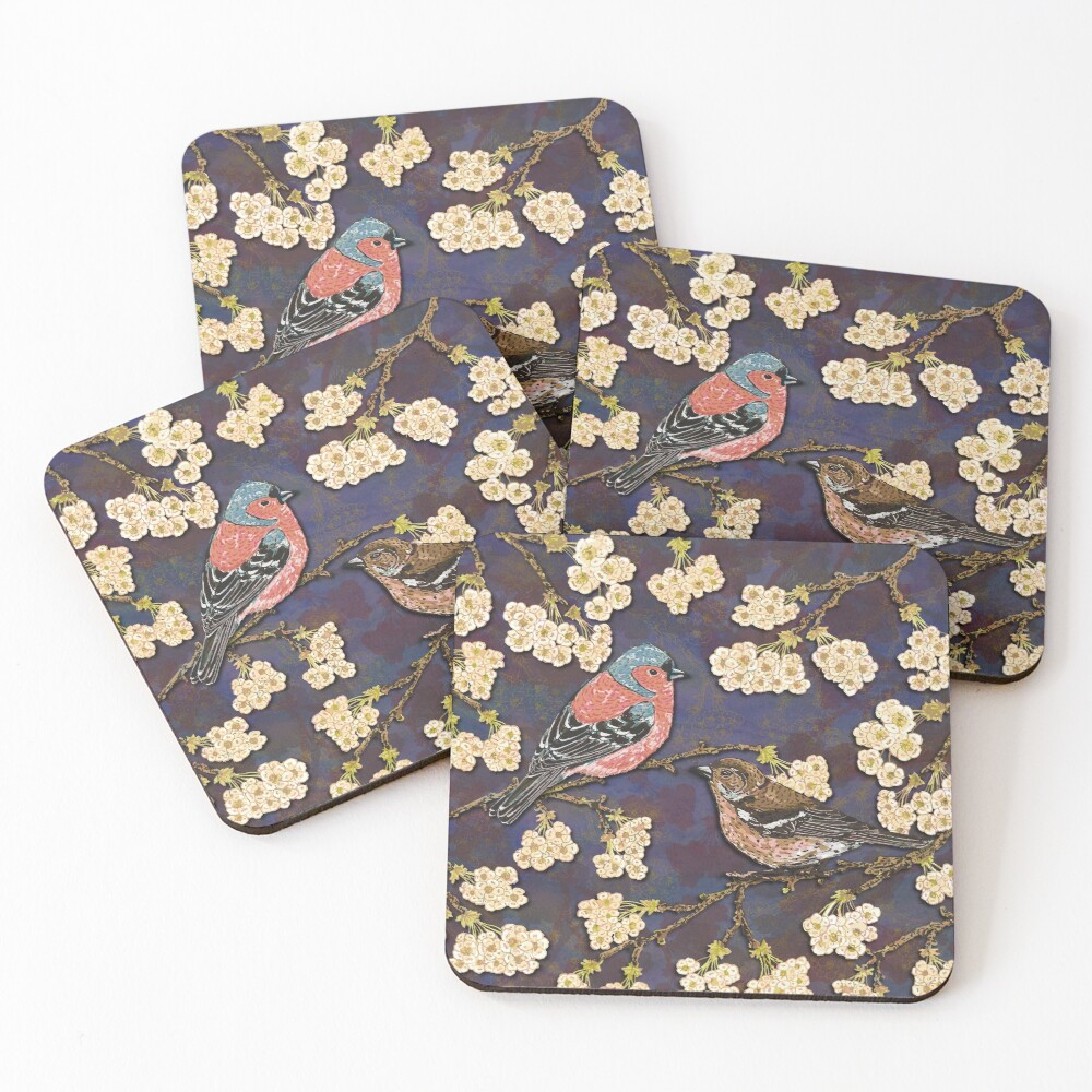 Chaffinches in Cherry Blossom Coasters (Set of 4)