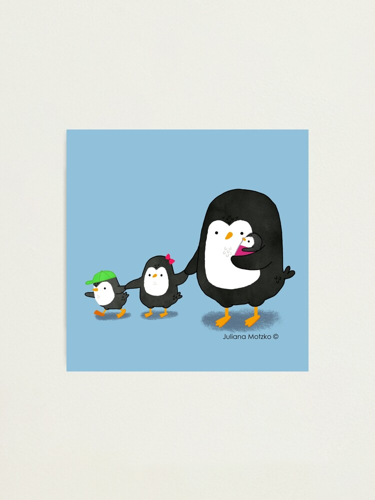 Alternate view of Penguin Dad and three kids Photographic Print