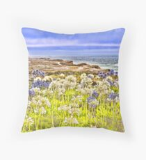 Flowers by the sea, Pescadero, CA Throw Pillow
