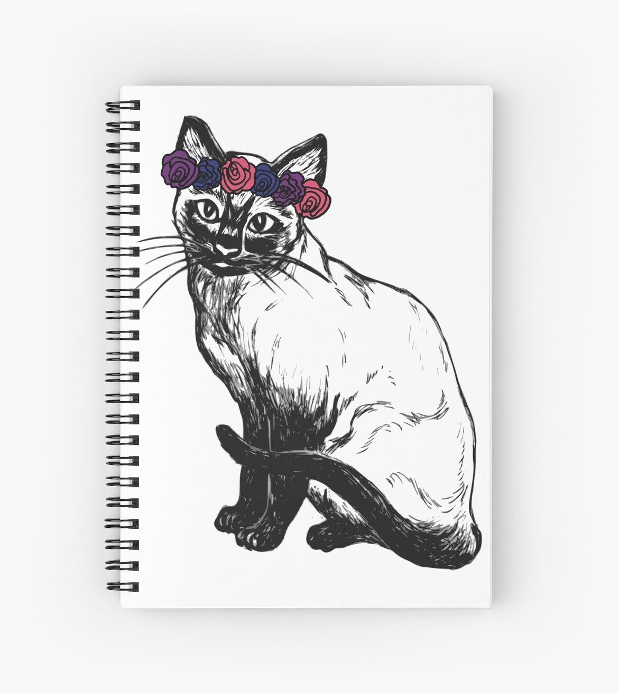 Flower Crown Cat Spiral Notebooks By Ash Foxglove Redbubble