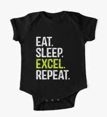 Eat Sleep Excel Repeat Short Sleeve Baby One-Piece