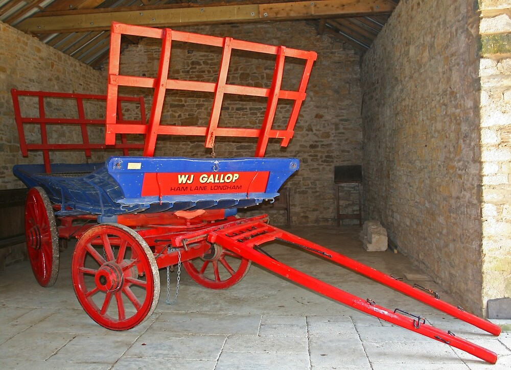 Wagon In Barn by RedHillDigital