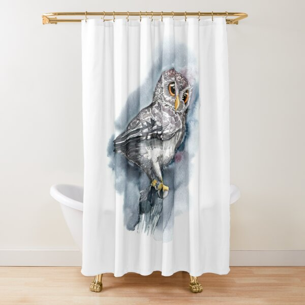 Watercolor Proud Grey Owl with Big Eyes Shower Curtain