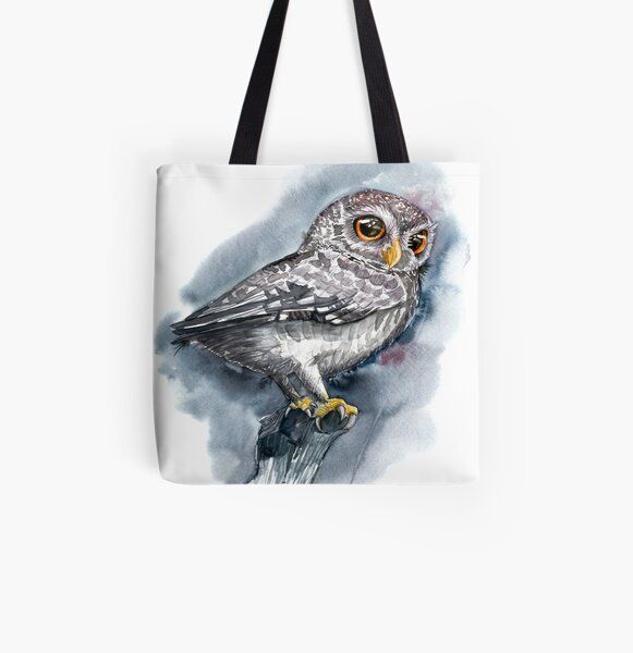 Watercolor Proud Grey Owl with Big Eyes All Over Print Tote Bag