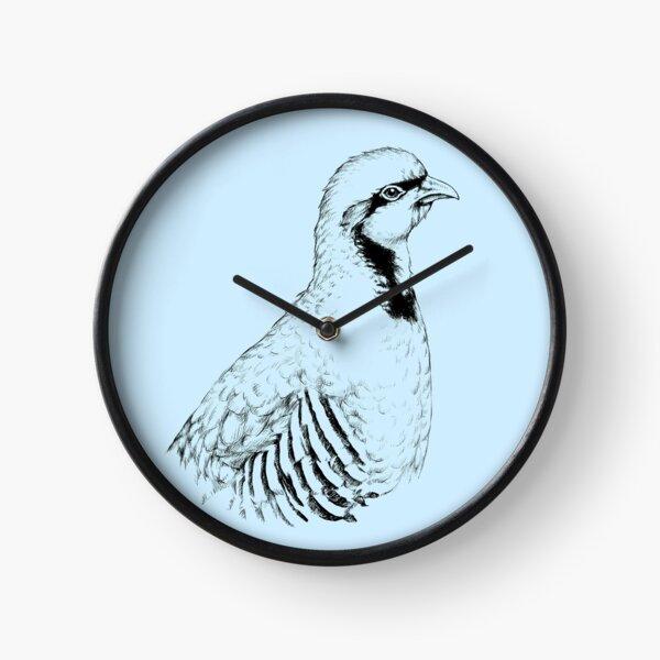 Chukar Partridge Portrait (bright background) Clock