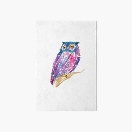 A watercolor violet and pink cute owl Art Board Print