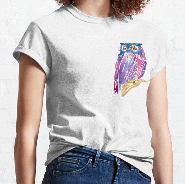 A watercolor violet and pink cute owl Classic T-Shirt