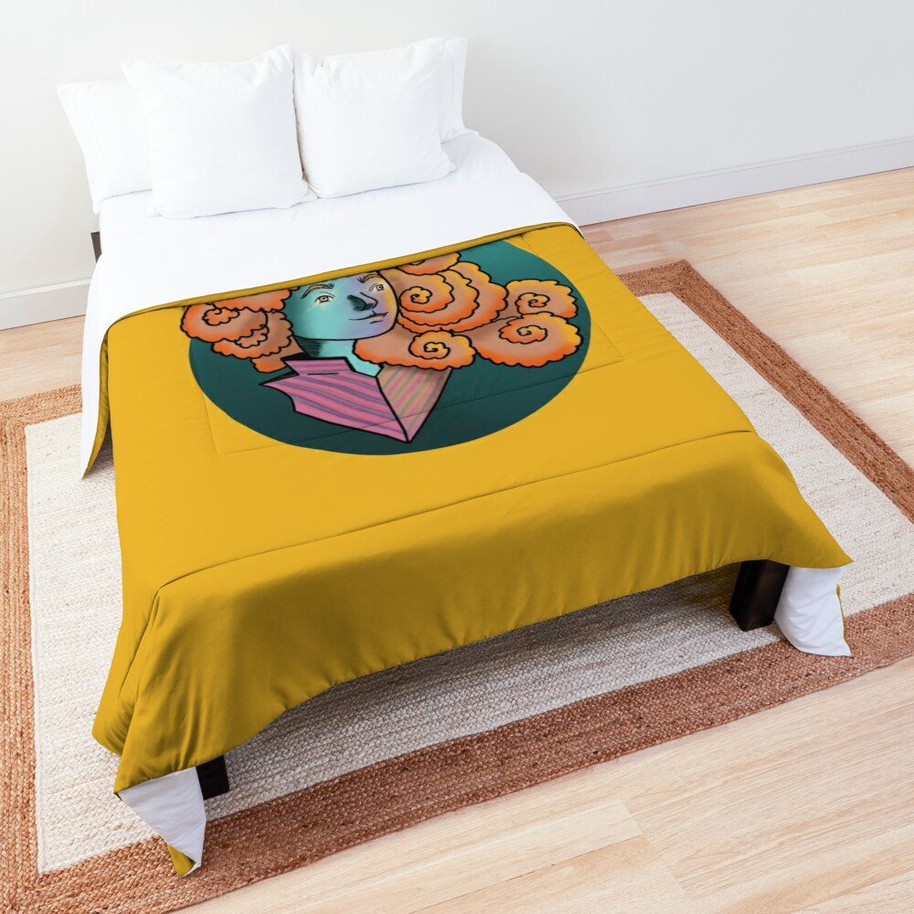 Curly Dream Girl Illustration Comforter
