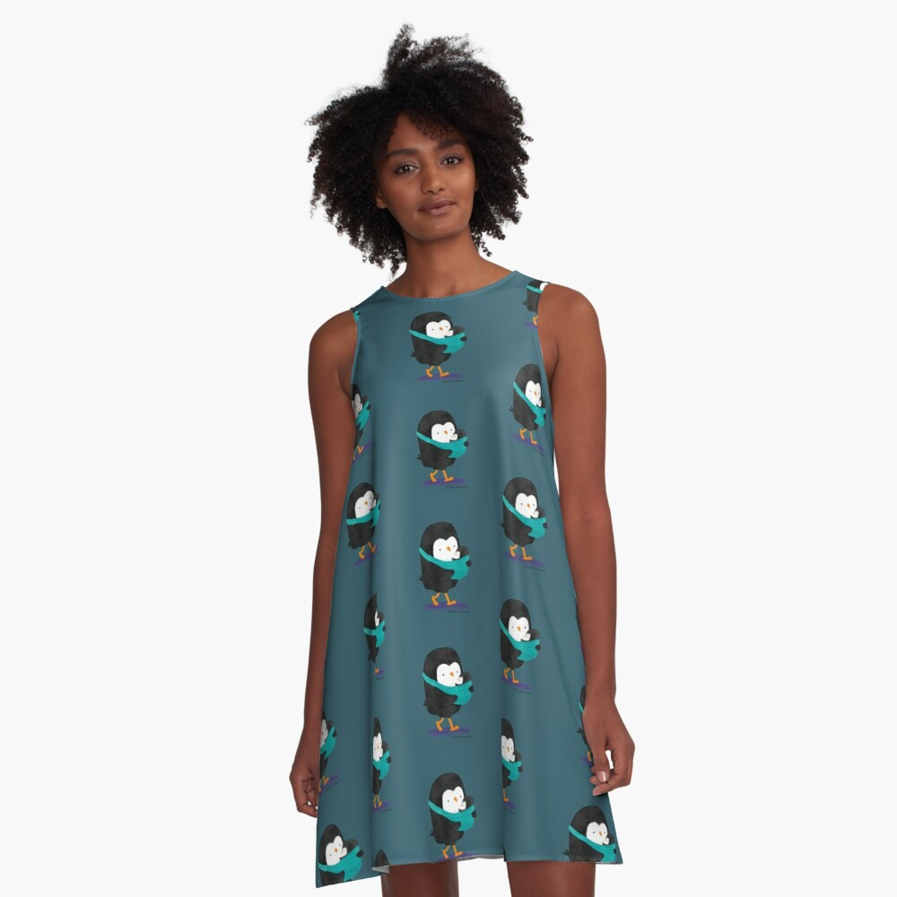 Penguin Dad and Baby Penguin A-Line Dress