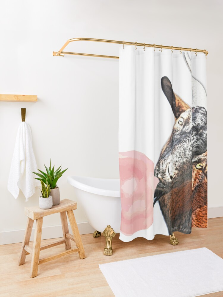 Alternate view of Billy Goat and Bubblegum Shower Curtain