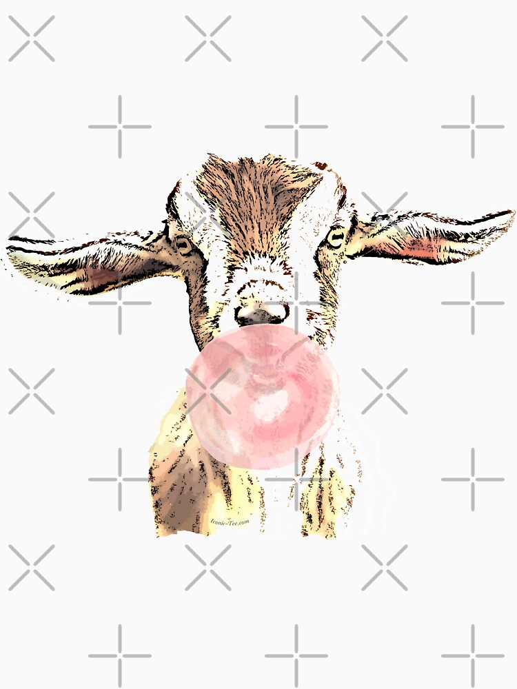 Funny Airplane Ears Goat With Pink Bubblegum by IconicTee
