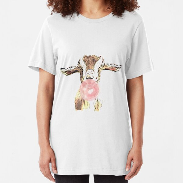 Funny Airplane Ears Goat With Pink Bubblegum Slim Fit T-Shirt