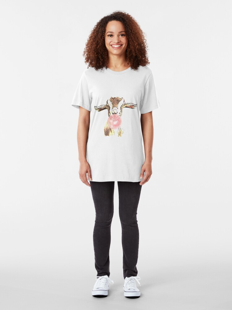 Alternate view of  Funny Airplane Ears Goat With Pink Bubblegum Slim Fit T-Shirt