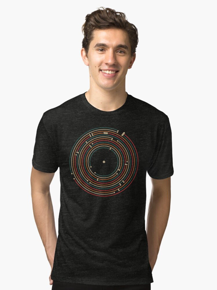 Vinyl music metro record map labyrinth  Tri-blend T-Shirt Front