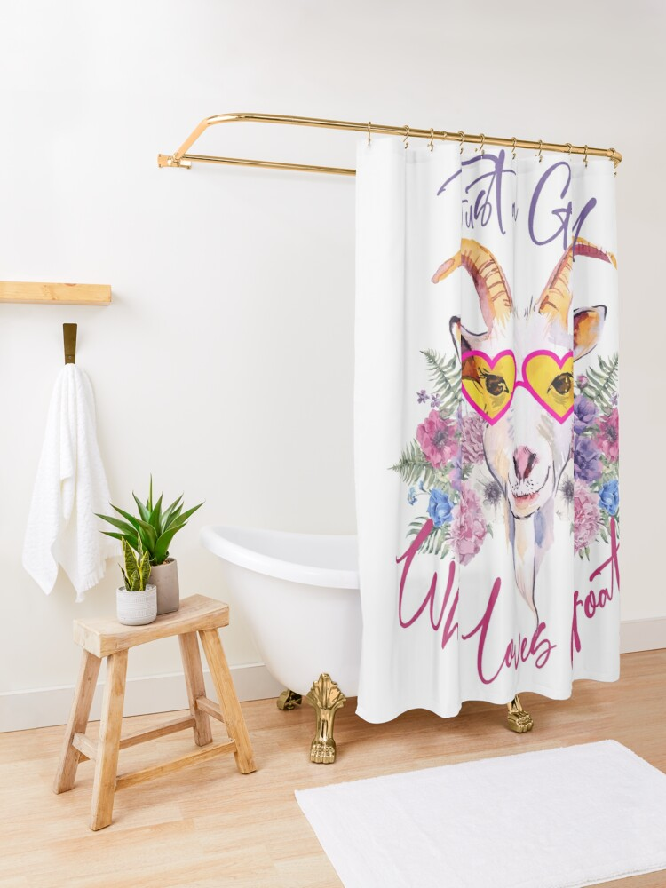Alternate view of Just a Girl Who Loves Goats  Shower Curtain