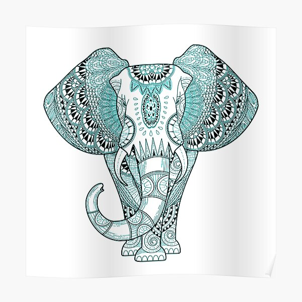 Turquoise Elephant Poster