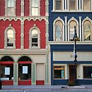 Red and blue historic buildings by snehit