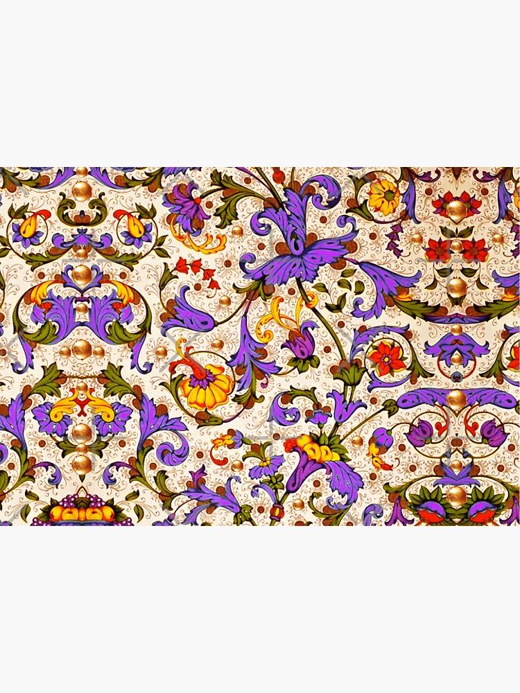 FLORENTINE RENAISSANCE FLORAL Gold Yellow Purple Flowers,Swirls,Fruits, Leaves by BulganLumini