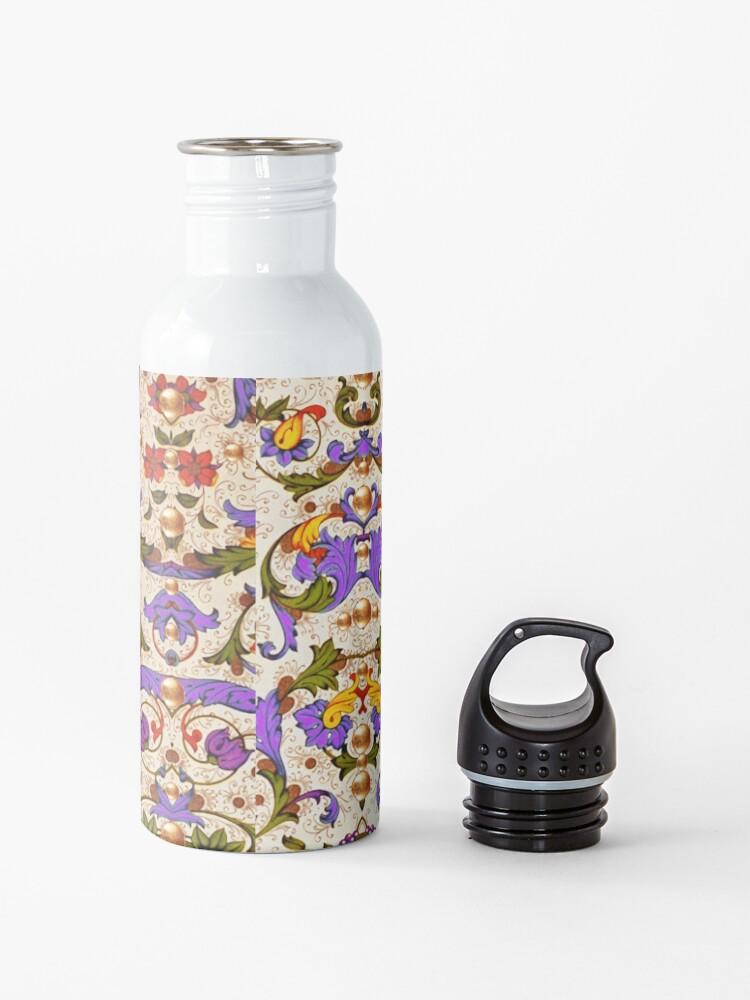 Alternate view of FLORENTINE RENAISSANCE FLORAL Gold Yellow Purple Flowers,Swirls,Fruits, Leaves Water Bottle
