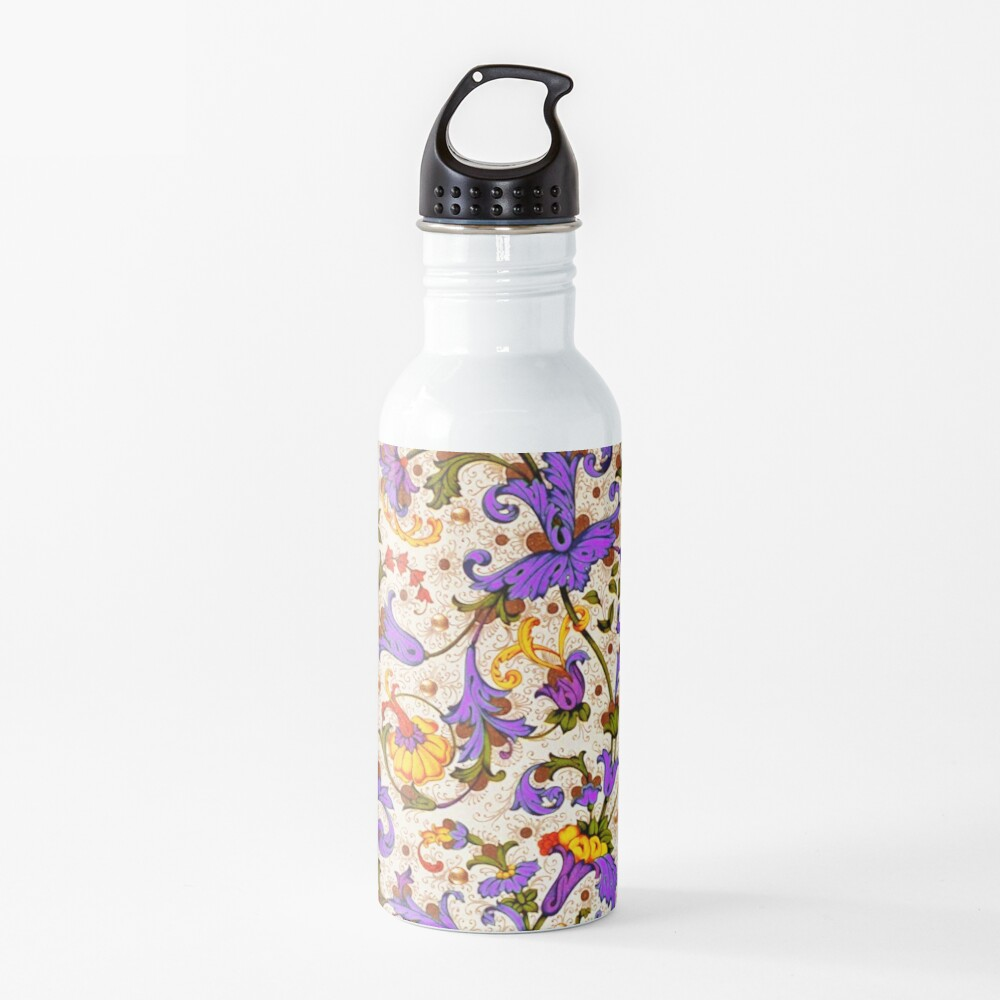 FLORENTINE RENAISSANCE FLORAL Gold Yellow Purple Flowers,Swirls,Fruits, Leaves Water Bottle