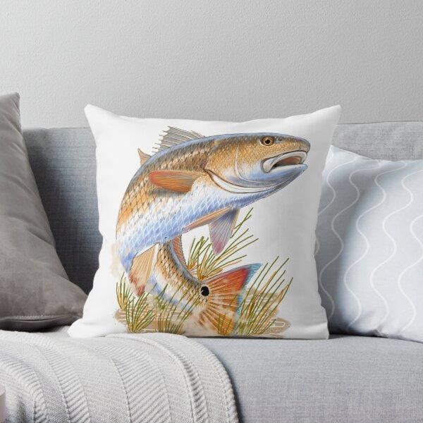 Redfish in grass Throw Pillow