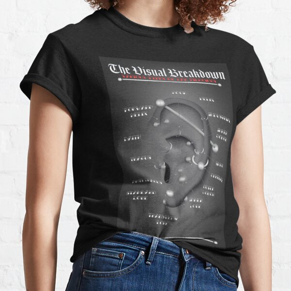 Ear Piercing Chart, Black and Gray Classic T-Shirt