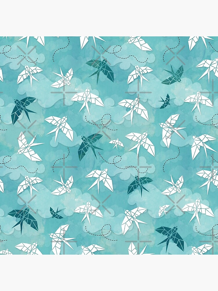 Origami Swallow in turquoise by adenaJ