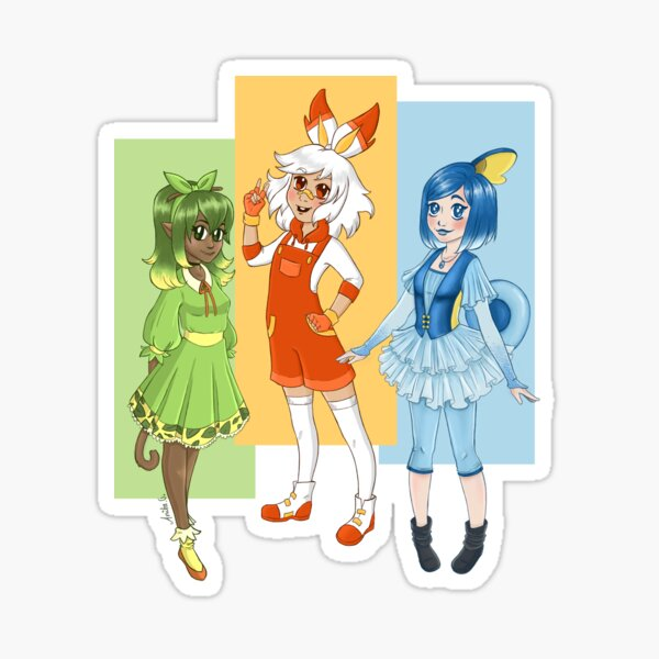 Starter set - Leafy, scorching and water girl Sticker