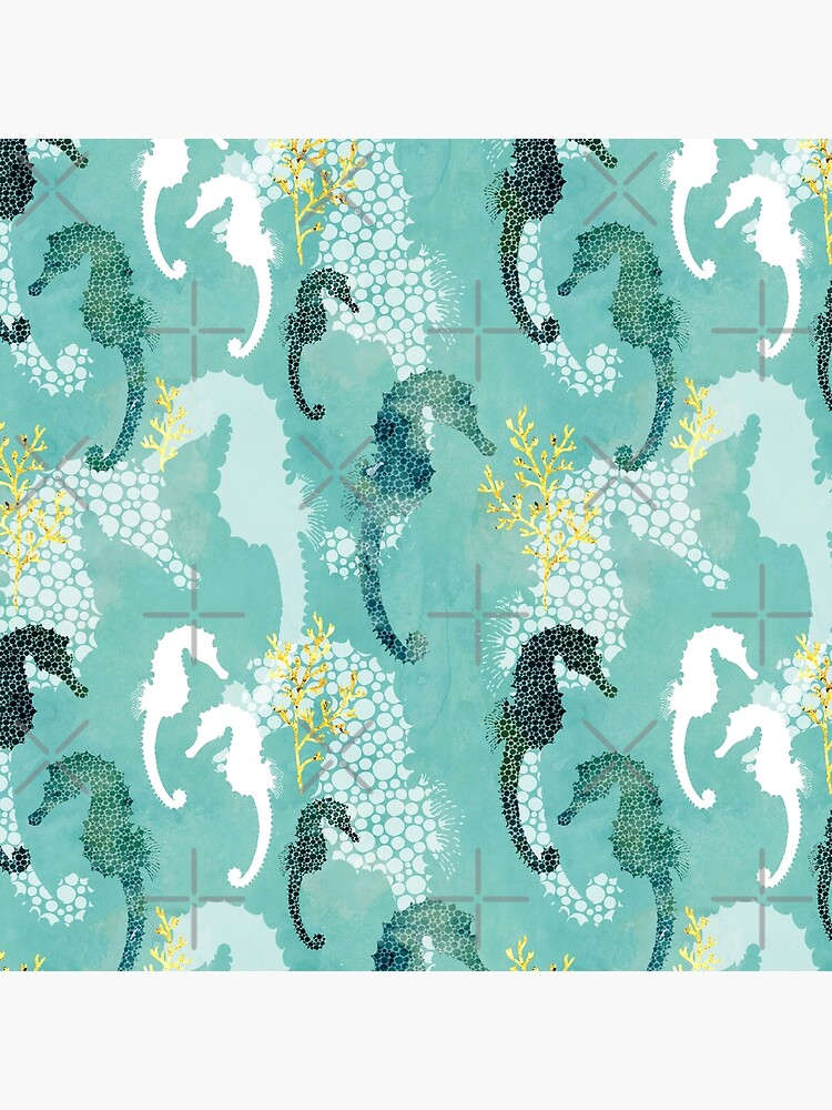 Seahorse dots on turquoise by adenaJ