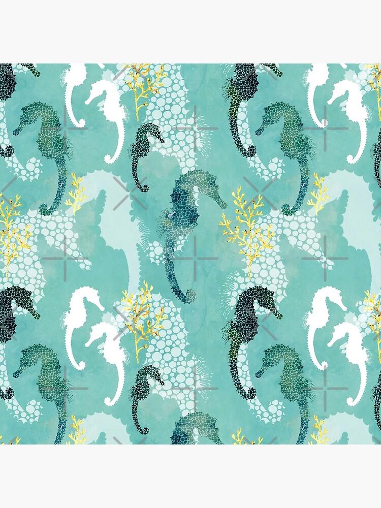 Seahorse dots on turquoise by adenaJ