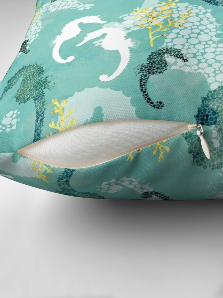 Alternate view of Seahorse dots on turquoise Throw Pillow