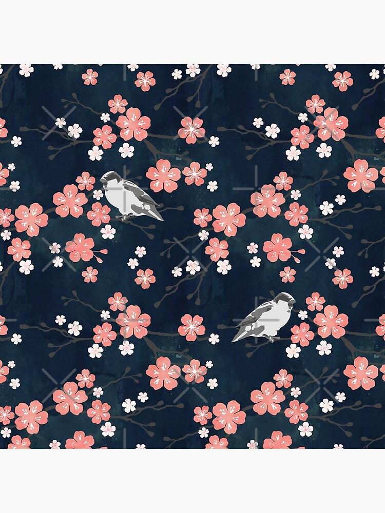 Navy and pink bird cherry blossom by adenaJ