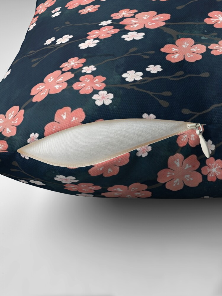 Alternate view of Navy and pink bird cherry blossom Throw Pillow