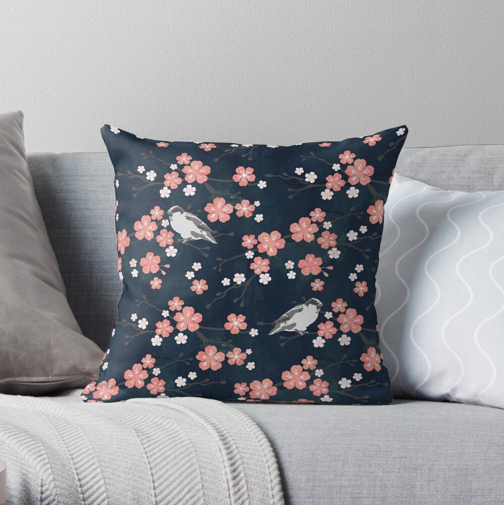 Navy and pink bird cherry blossom Throw Pillow