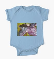 Purple Leaf with Water Droplets One Piece - Short Sleeve