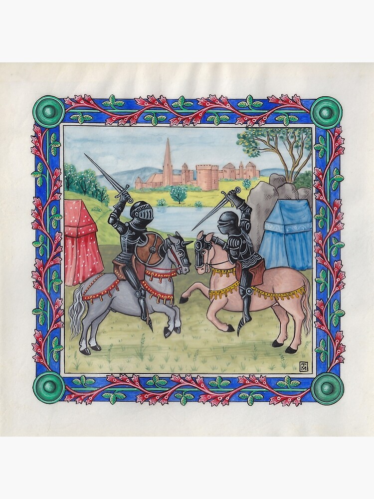 Medieval Illumination - Knights Battling  by TCilluminate