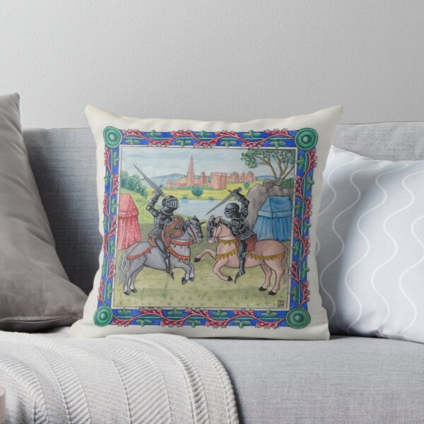 Medieval Illumination - Knights Battling  Throw Pillow
