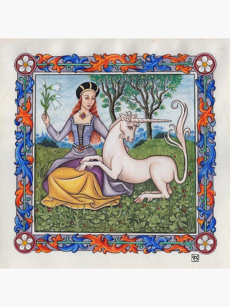 Medieval Illumination - Virgin & Unicorn  by TCilluminate