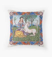 Medieval Illumination - Virgin & Unicorn  Throw Pillow