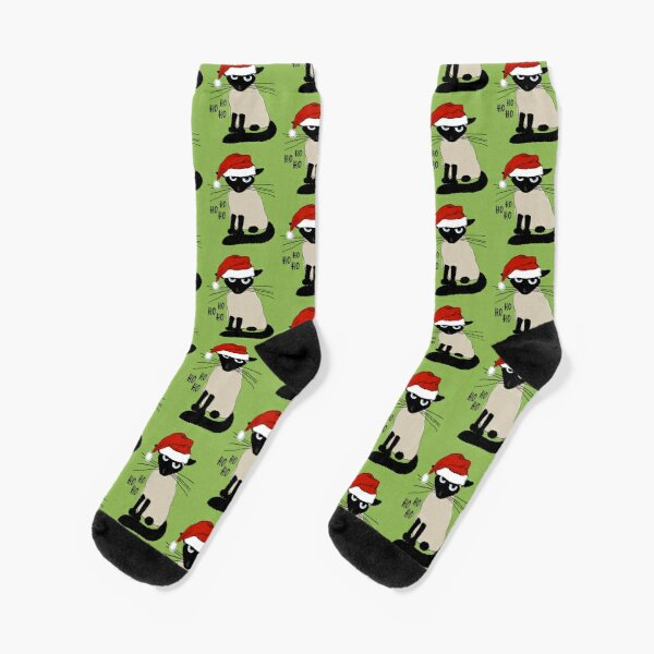 Siamese Santa | Humorous Christmas Holiday Kitty Cat Socks