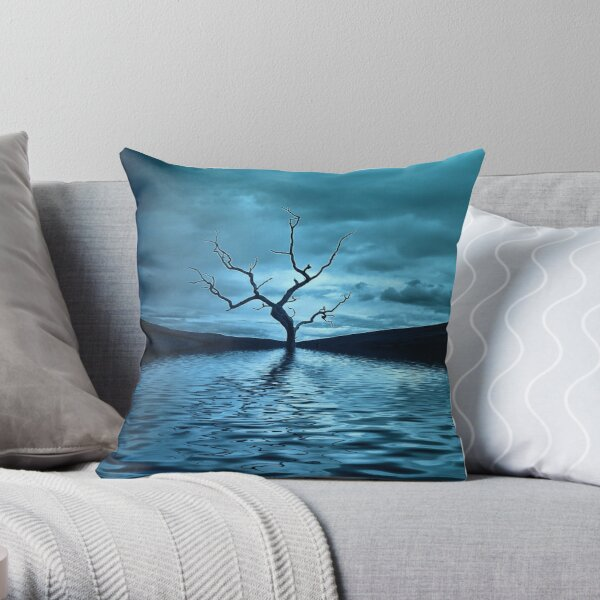 Tree Blue Throw Pillow