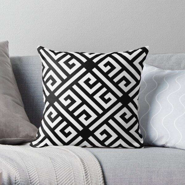 Greek Key Pattern black and white Throw Pillow